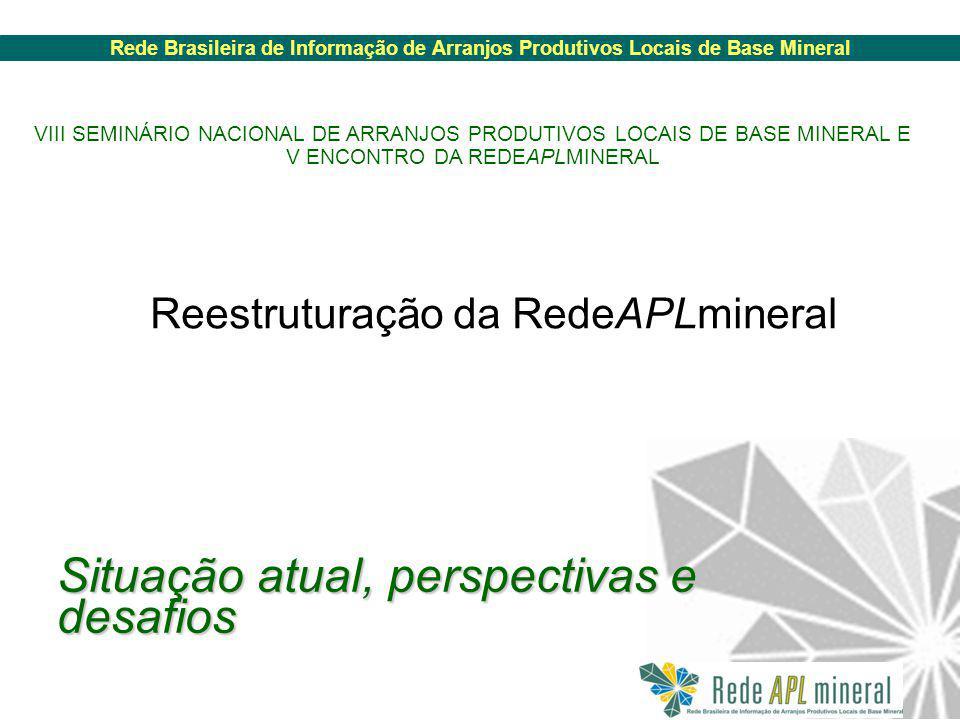 Rede Brasileira de Informação de Arranjos Produtivos Locais de Base Mineral Reestruturação da RedeAPLmineral Situação atual, perspectivas e desafios VIII SEMINÁRIO NACIONAL DE ARRANJOS PRODUTIVOS LOCAIS DE BASE MINERAL E V ENCONTRO DA REDEAPLMINERAL