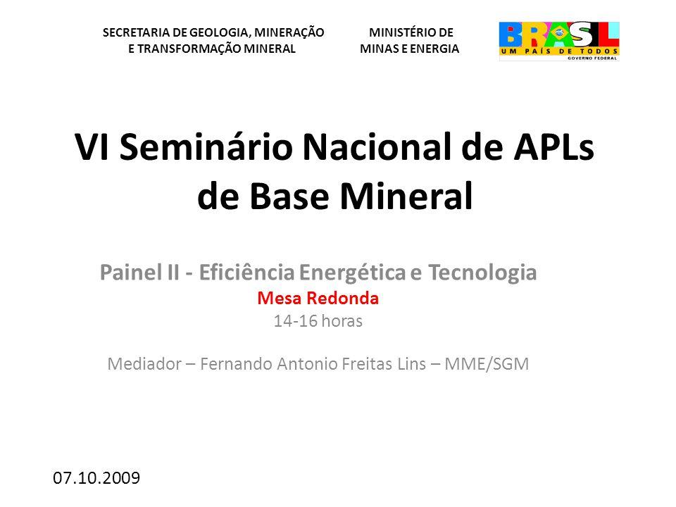 VI Seminário Nacional de APLs de Base Mineral Painel II - Eficiência Energética e Tecnologia Mesa Redonda 14-16 horas Mediador – Fernando Antonio Frei