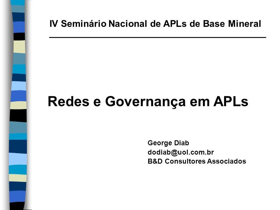 IV Seminário Nacional de APLs de Base Mineral Redes e Governança em APLs George Diab dodiab@uol.com.br B&D Consultores Associados