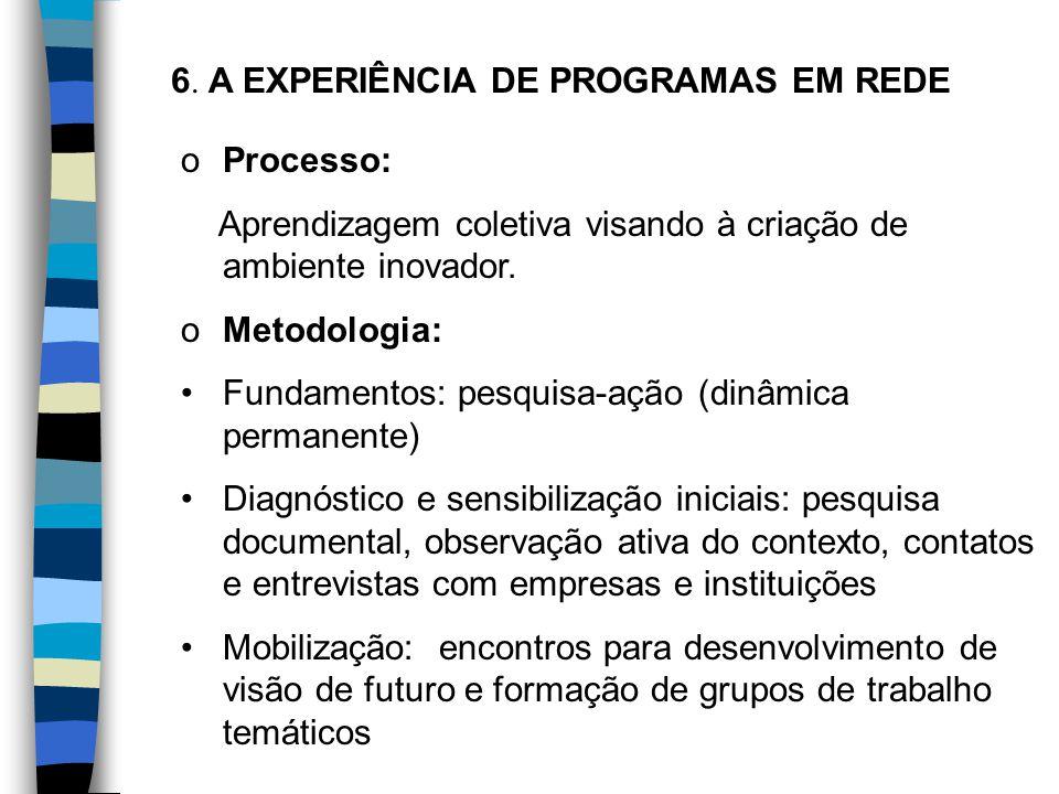 6. A EXPERIÊNCIA DE PROGRAMAS EM REDE oProcesso: Aprendizagem coletiva visando à criação de ambiente inovador. oMetodologia: Fundamentos: pesquisa-açã