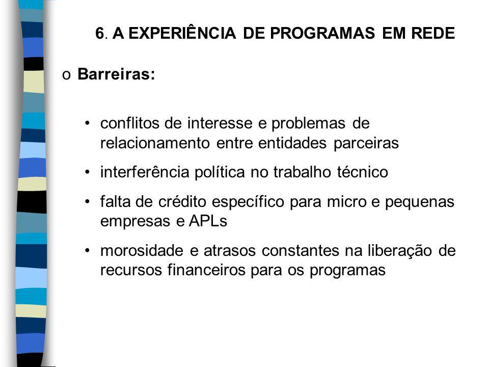 oBarreiras: conflitos de interesse e problemas de relacionamento entre entidades parceiras interferência política no trabalho técnico falta de crédito