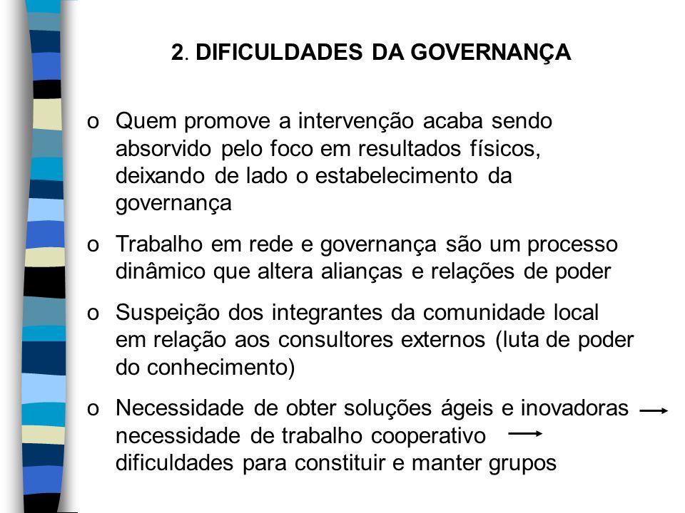 2. DIFICULDADES DA GOVERNANÇA oQuem promove a intervenção acaba sendo absorvido pelo foco em resultados físicos, deixando de lado o estabelecimento da