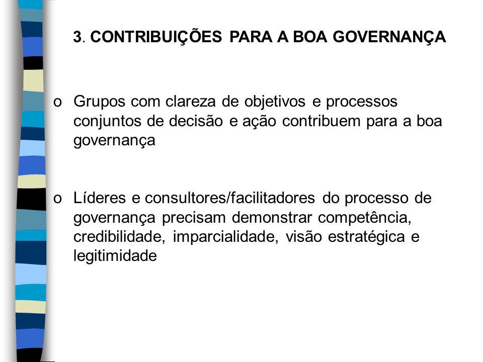 3. CONTRIBUIÇÕES PARA A BOA GOVERNANÇA oGrupos com clareza de objetivos e processos conjuntos de decisão e ação contribuem para a boa governança oLíde
