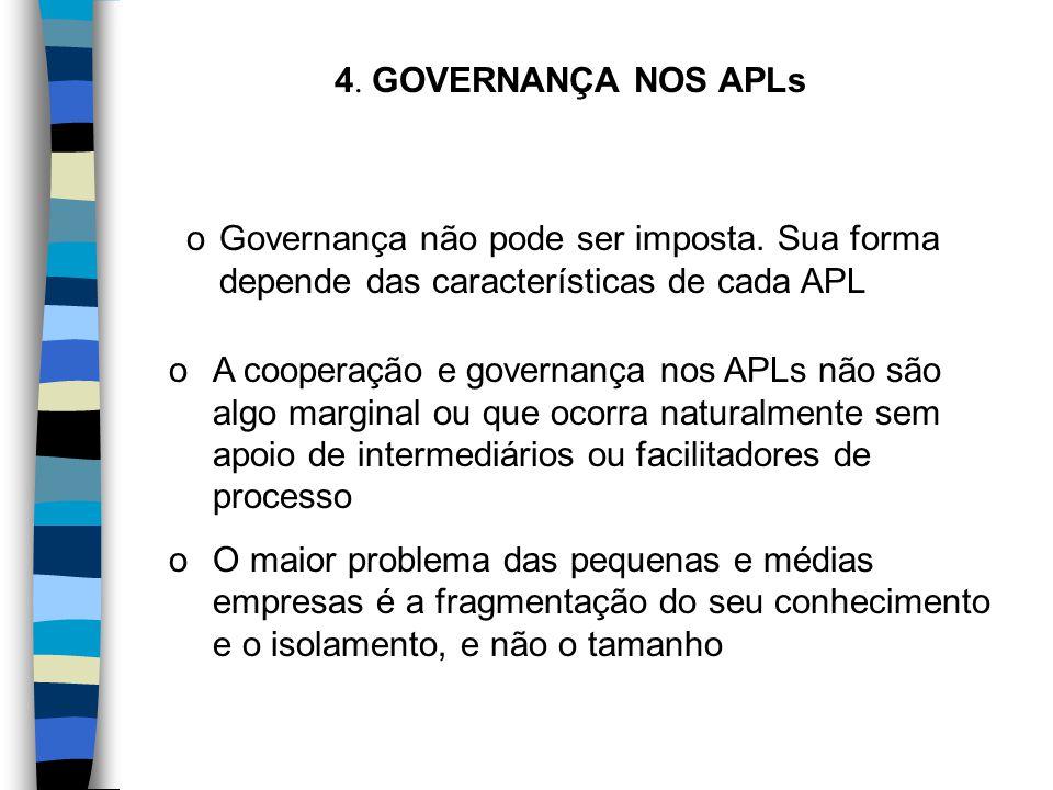 4. GOVERNANÇA NOS APLs oGovernança não pode ser imposta. Sua forma depende das características de cada APL oA cooperação e governança nos APLs não são