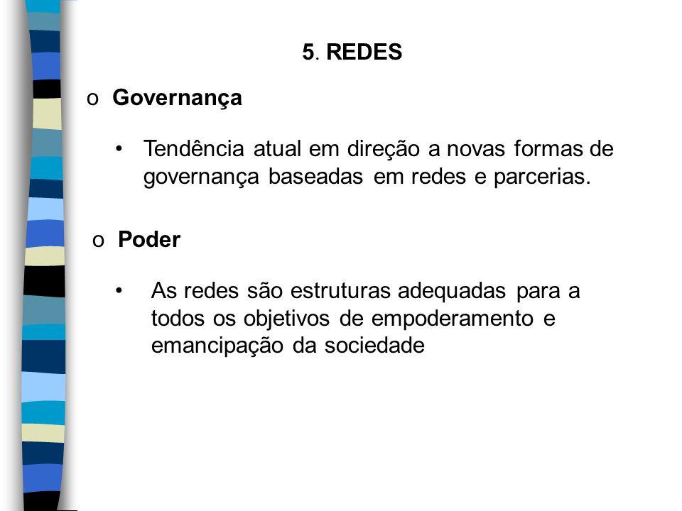 5. REDES Tendência atual em direção a novas formas de governança baseadas em redes e parcerias. o Governança o Poder As redes são estruturas adequadas