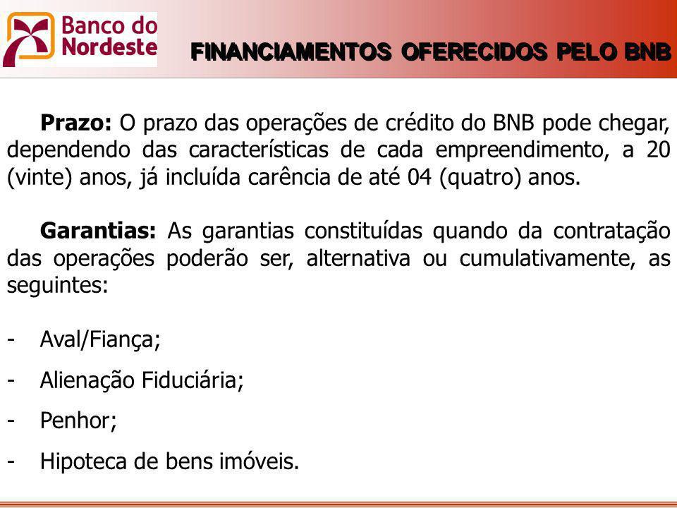 Prazo: O prazo das operações de crédito do BNB pode chegar, dependendo das características de cada empreendimento, a 20 (vinte) anos, já incluída carê