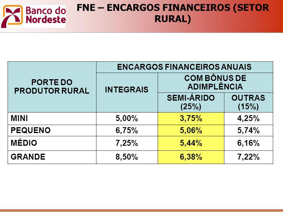 PORTE DO PRODUTOR RURAL ENCARGOS FINANCEIROS ANUAIS INTEGRAIS COM BÔNUS DE ADIMPLÊNCIA SEMI-ÁRIDO (25%) OUTRAS (15%) MINI5,00%3,75%4,25% PEQUENO6,75%5