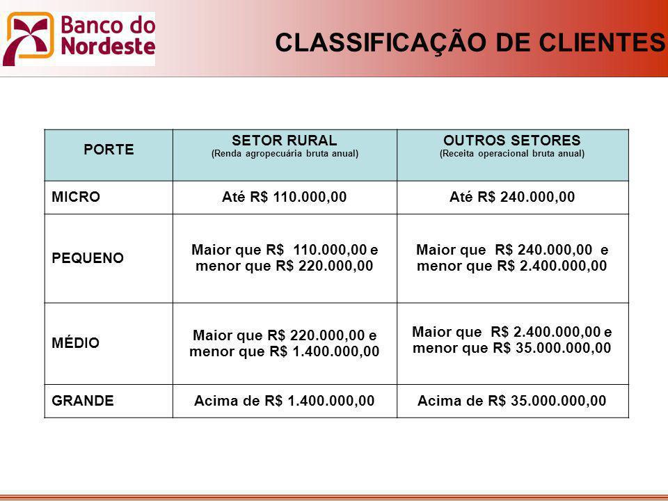 CLASSIFICAÇÃO DE CLIENTES PORTE SETOR RURAL (Renda agropecuária bruta anual) OUTROS SETORES (Receita operacional bruta anual) MICROAté R$ 110.000,00At