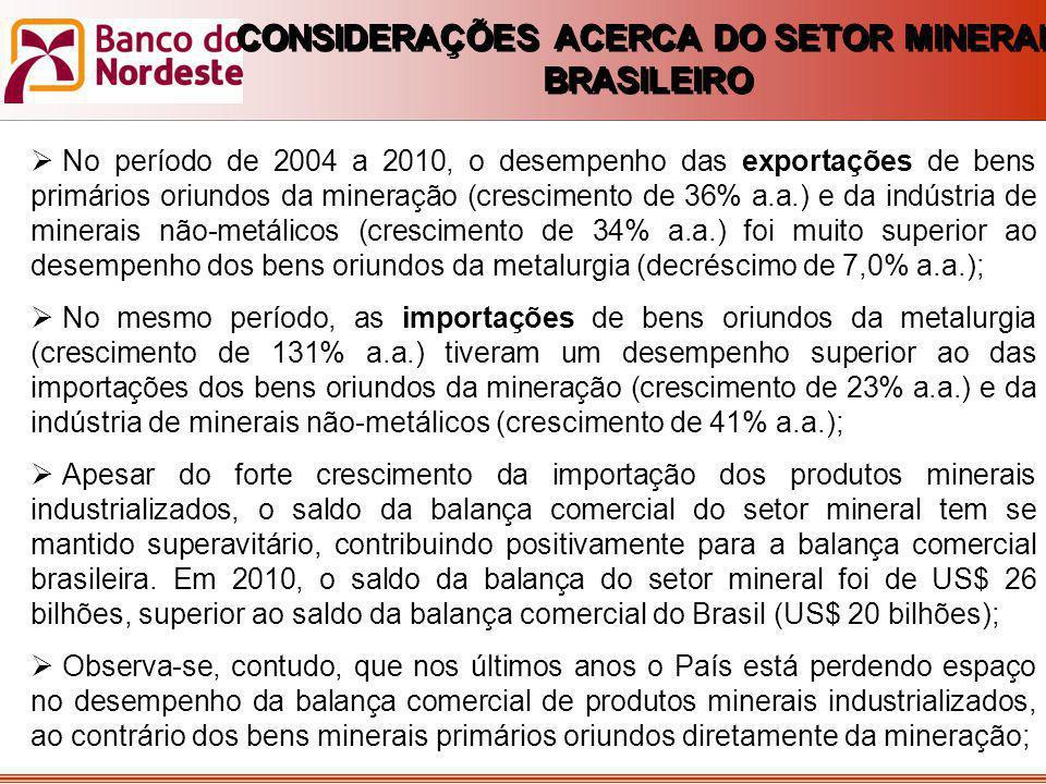  No período de 2004 a 2010, o desempenho das exportações de bens primários oriundos da mineração (crescimento de 36% a.a.) e da indústria de minerais