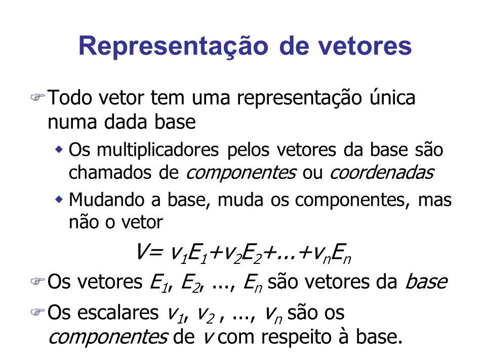Representação de vetores F Todo vetor tem uma representação única numa dada base wOs multiplicadores pelos vetores da base são chamados de componentes ou coordenadas wMudando a base, muda os componentes, mas não o vetor V= v 1 E 1 +v 2 E 2 +...+v n E n F Os vetores E 1, E 2,..., E n são vetores da base F Os escalares v 1, v 2,..., v n são os componentes de v com respeito à base.