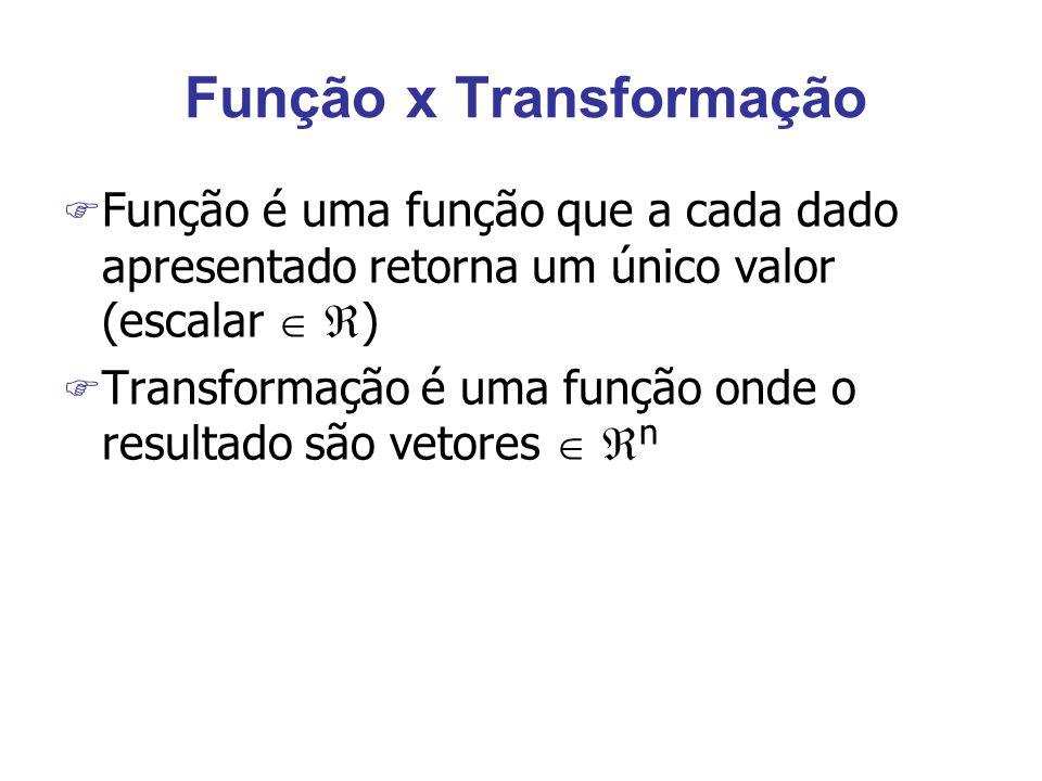 Função x Transformação F Função é uma função que a cada dado apresentado retorna um único valor (escalar   ) F Transformação é uma função onde o resultado são vetores   n