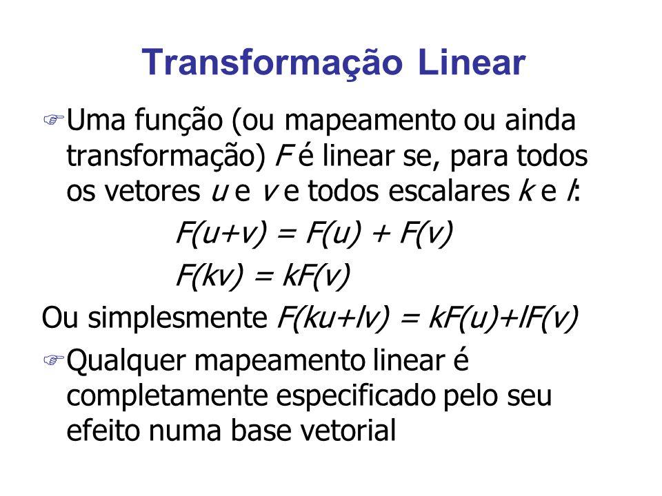 Transformação Linear F Uma função (ou mapeamento ou ainda transformação) F é linear se, para todos os vetores u e v e todos escalares k e l: F(u+v) = F(u) + F(v) F(kv) = kF(v) Ou simplesmente F(ku+lv) = kF(u)+lF(v) F Qualquer mapeamento linear é completamente especificado pelo seu efeito numa base vetorial