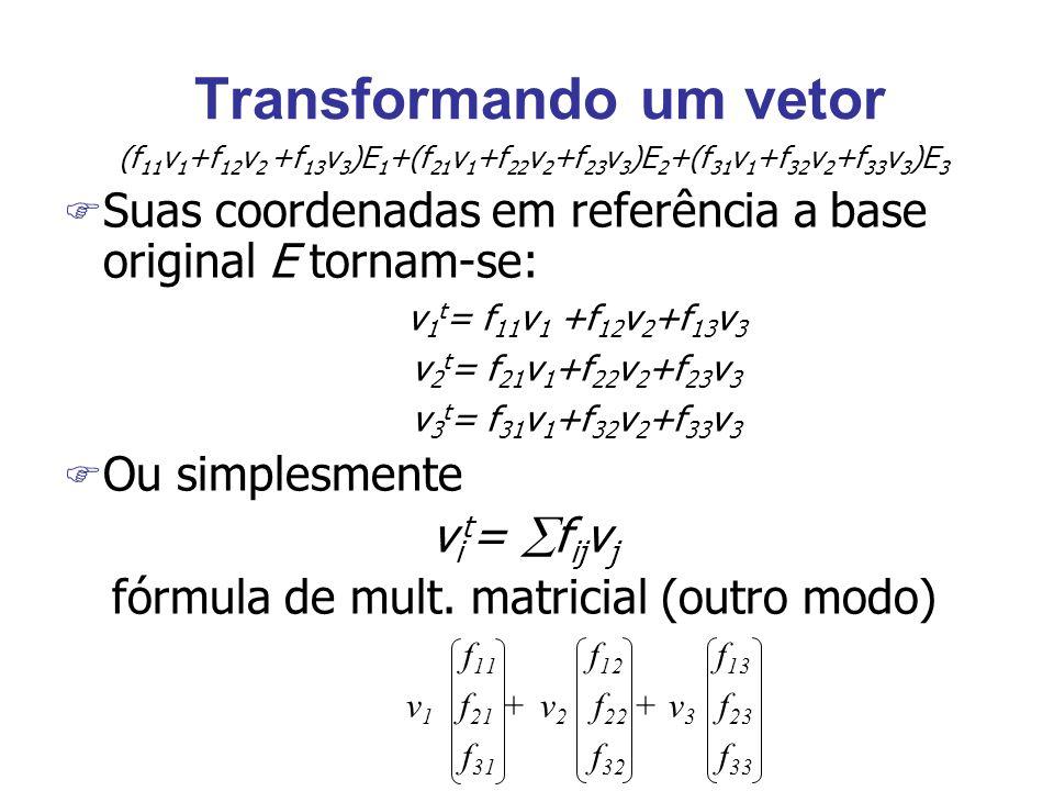 Transformando um vetor (f 11 v 1 +f 12 v 2 +f 13 v 3 )E 1 +(f 21 v 1 +f 22 v 2 +f 23 v 3 )E 2 +(f 31 v 1 +f 32 v 2 +f 33 v 3 )E 3 F Suas coordenadas em referência a base original E tornam-se: v 1 t = f 11 v 1 +f 12 v 2 +f 13 v 3 v 2 t = f 21 v 1 +f 22 v 2 +f 23 v 3 v 3 t = f 31 v 1 +f 32 v 2 +f 33 v 3 F Ou simplesmente v i t =  f ij v j fórmula de mult.