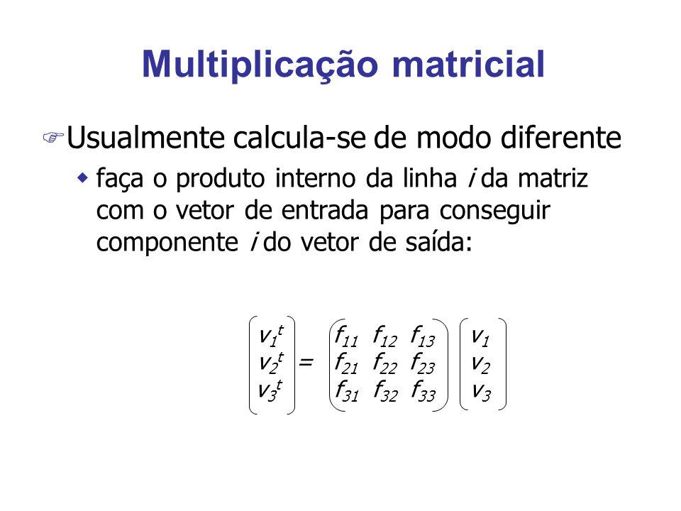 Multiplicação matricial F Usualmente calcula-se de modo diferente wfaça o produto interno da linha i da matriz com o vetor de entrada para conseguir componente i do vetor de saída: v 1 t f 11 f 12 f 13 v 1 v 2 t = f 21 f 22 f 23 v 2 v 3 t f 31 f 32 f 33 v 3
