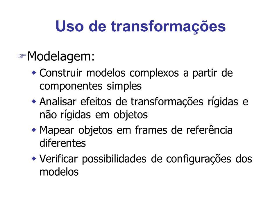 Uso de transformações F Modelagem: wConstruir modelos complexos a partir de componentes simples wAnalisar efeitos de transformações rígidas e não rígidas em objetos wMapear objetos em frames de referência diferentes wVerificar possibilidades de configurações dos modelos