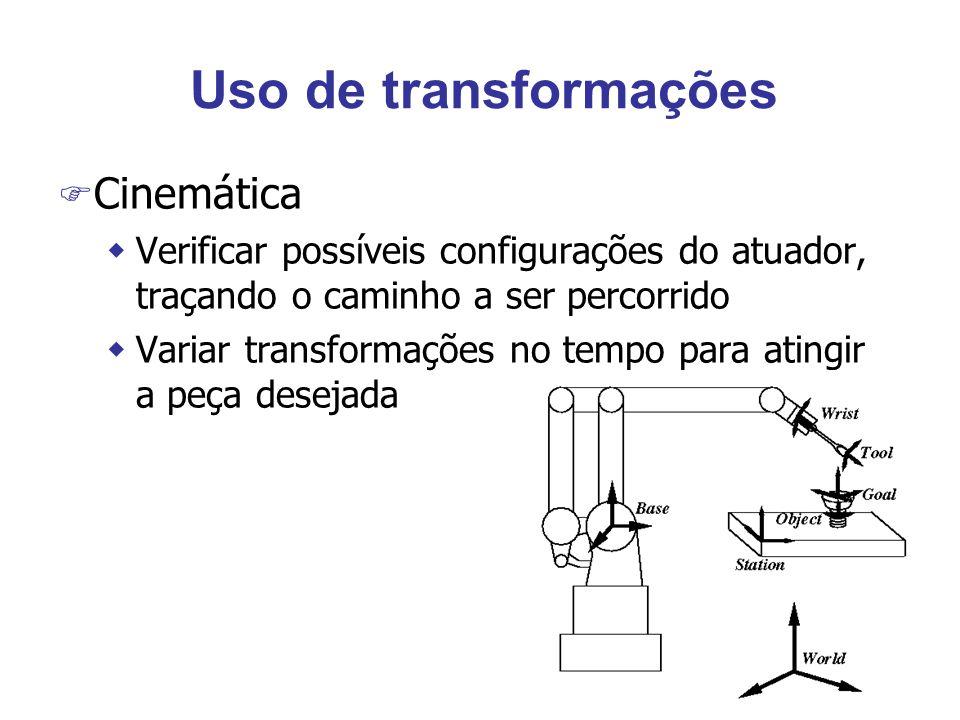Uso de transformações F Cinemática wVerificar possíveis configurações do atuador, traçando o caminho a ser percorrido wVariar transformações no tempo para atingir a peça desejada