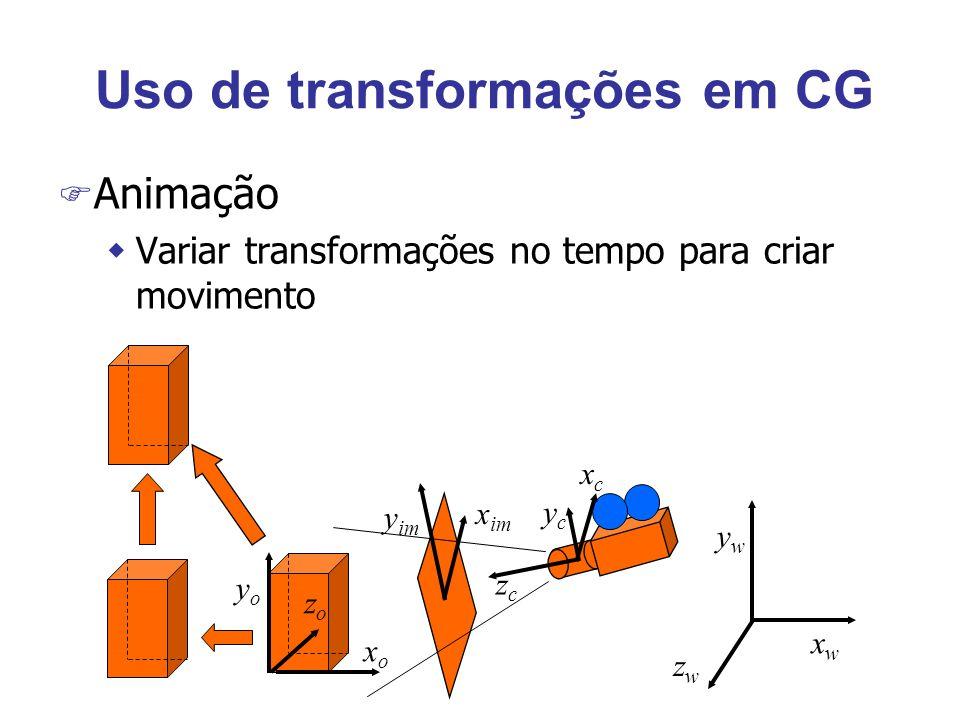 Uso de transformações em CG F Animação wVariar transformações no tempo para criar movimento xoxo zozo yoyo ycyc xcxc zczc xwxw zwzw ywyw y im x im