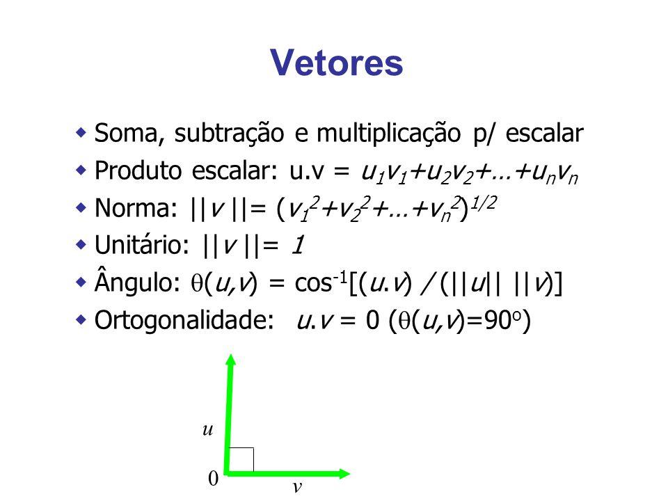 Vetores wSoma, subtração e multiplicação p/ escalar wProduto escalar: u.v = u 1 v 1 +u 2 v 2 +…+u n v n wNorma: ||v ||= (v 1 2 +v 2 2 +…+v n 2 ) 1/2 wUnitário: ||v ||= 1 wÂngulo:  (u,v) = cos -1 [(u.v) / (||u|| ||v)] wOrtogonalidade: u.v = 0 (  (u,v)=90 o ) v u 0
