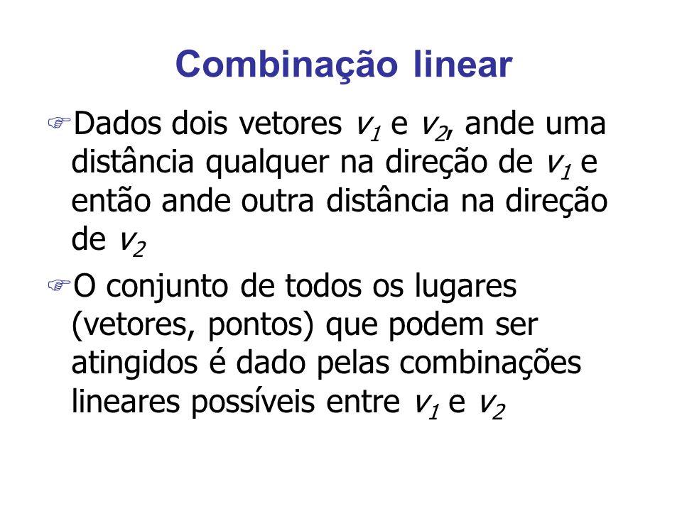 Combinação linear F Dados dois vetores v 1 e v 2, ande uma distância qualquer na direção de v 1 e então ande outra distância na direção de v 2 F O conjunto de todos os lugares (vetores, pontos) que podem ser atingidos é dado pelas combinações lineares possíveis entre v 1 e v 2