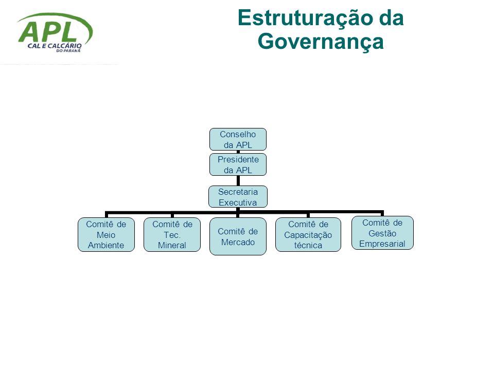Conselho da APL Presidente da APL Secretaria Executiva Comitê de Meio Ambiente Comitê de Tec. Mineral Comitê de Mercado Comitê de Capacitação técnica