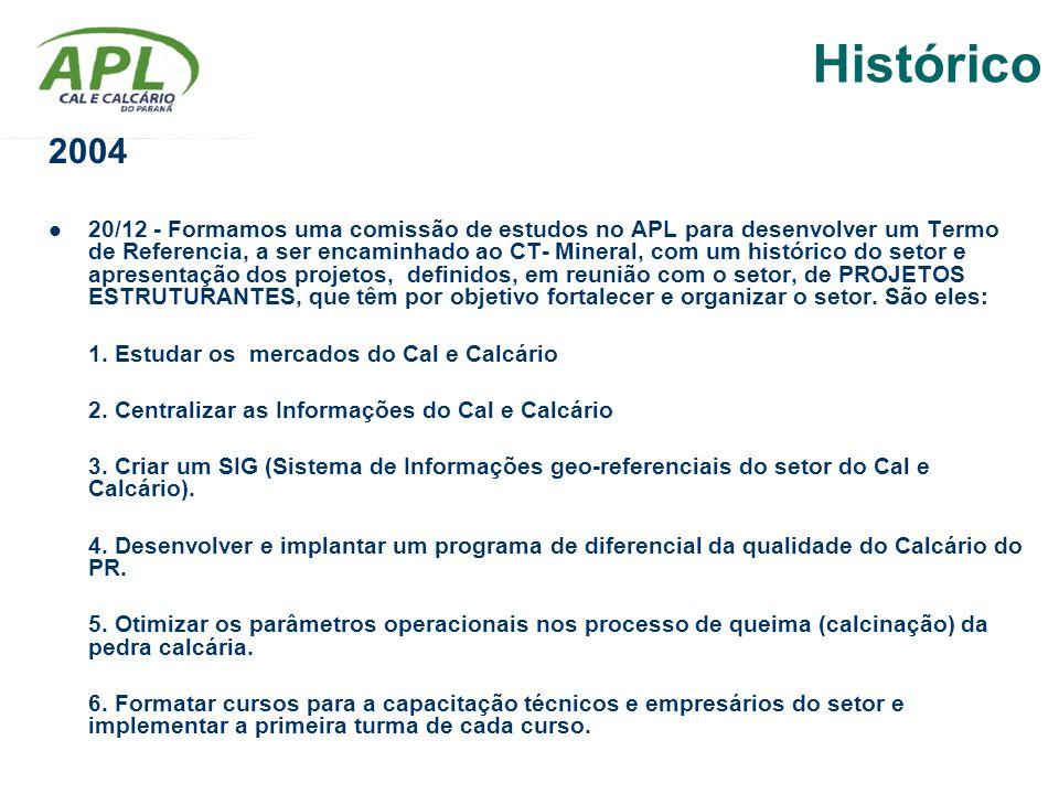 2004 20/12 - Formamos uma comissão de estudos no APL para desenvolver um Termo de Referencia, a ser encaminhado ao CT- Mineral, com um histórico do se