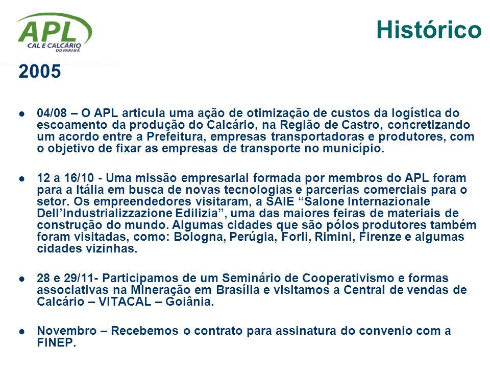 2005 04/08 – O APL articula uma ação de otimização de custos da logística do escoamento da produção do Calcário, na Região de Castro, concretizando um