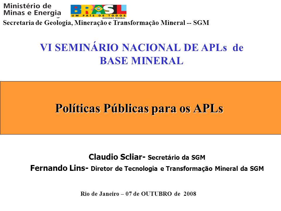 Secretaria de Geologia, Mineração e Transformação Mineral -- SGM Rio de Janeiro – 07 de OUTUBRO de 2008 VI SEMINÁRIO NACIONAL DE APLs de BASE MINERAL