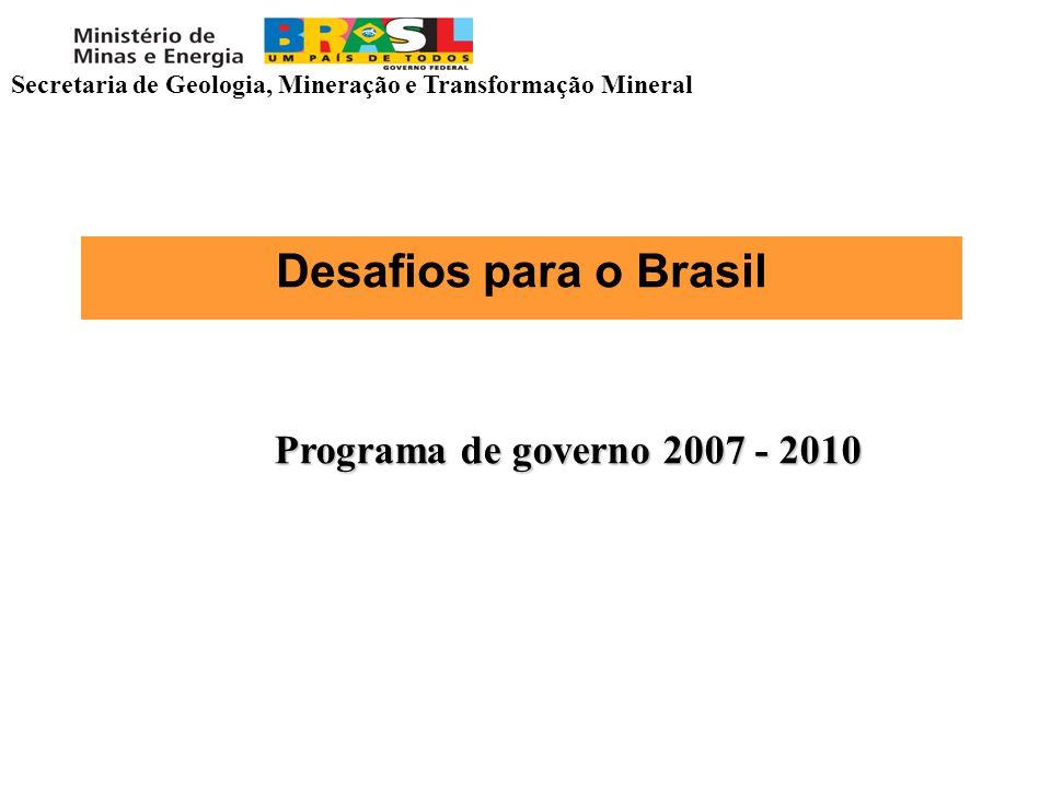 Desafios para o Brasil Programa de governo 2007 - 2010 Secretaria de Geologia, Mineração e Transformação Mineral