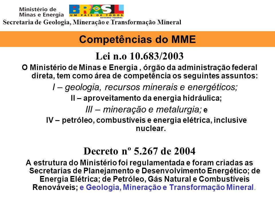 Competências do MME Lei n.o 10.683/2003 O Ministério de Minas e Energia, órgão da administração federal direta, tem como área de competência os seguin