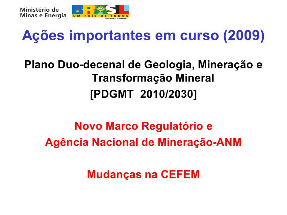 Ações importantes em curso (2009) Plano Duo-decenal de Geologia, Mineração e Transformação Mineral [PDGMT 2010/2030] Novo Marco Regulatório e Agência