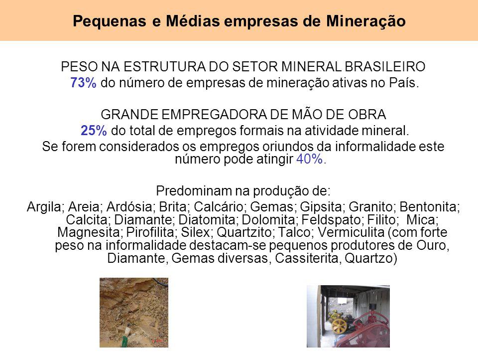 PESO NA ESTRUTURA DO SETOR MINERAL BRASILEIRO 73% do número de empresas de mineração ativas no País. GRANDE EMPREGADORA DE MÃO DE OBRA 25% do total de
