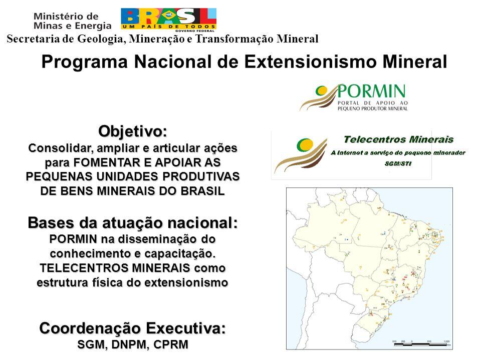 Programa Nacional de Extensionismo Mineral Objetivo: Consolidar, ampliar e articular ações para FOMENTAR E APOIAR AS PEQUENAS UNIDADES PRODUTIVAS DE B