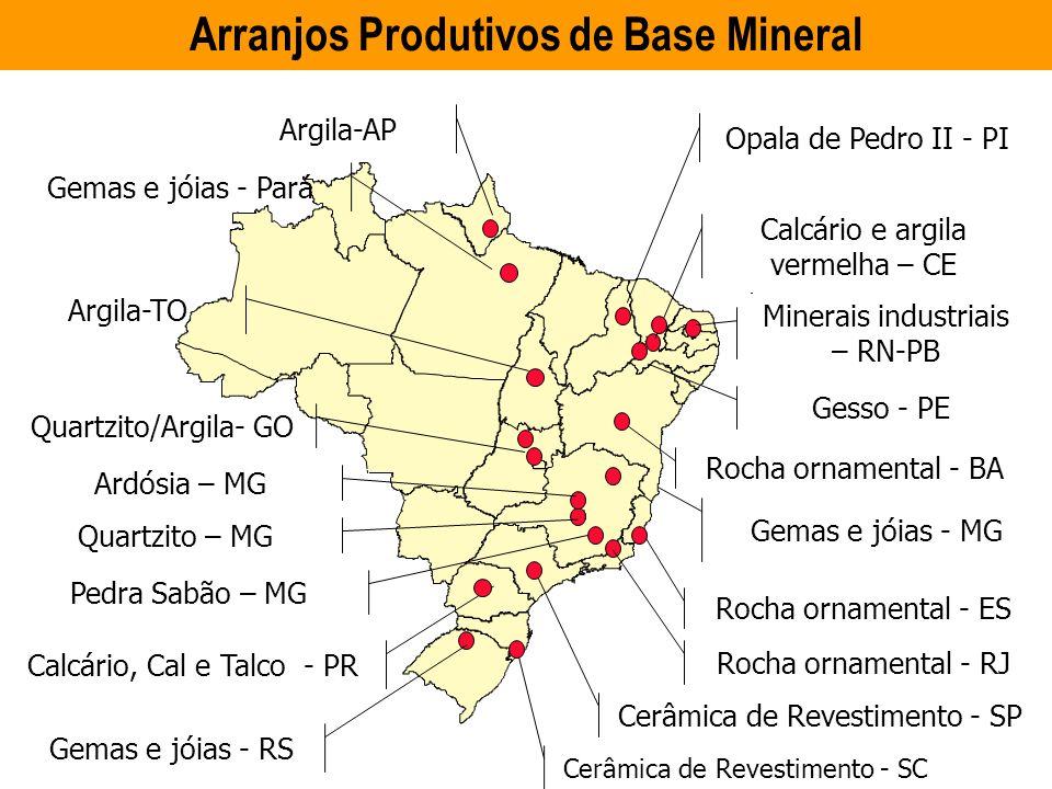 ARRANJOS PRODUTIVOS LOCAIS DE BASE MINERAL Gemas e jóias - MG # # Opala de Pedro II - PI Calcário e argila vermelha – CE Minerais industriais – RN-PB