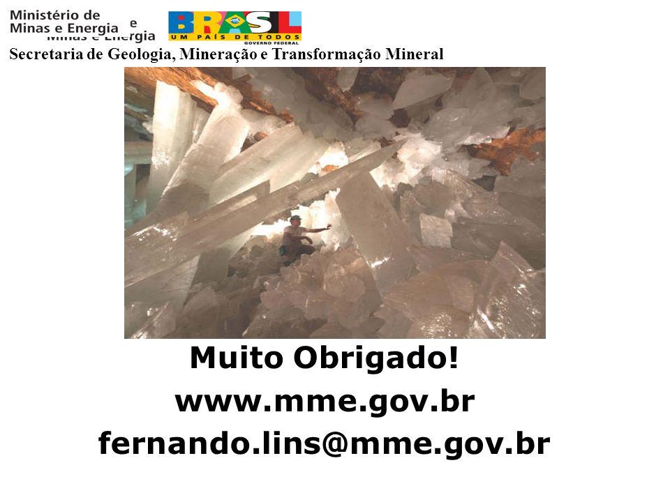 Secretaria de Geologia, Mineração e Transformação Mineral Muito Obrigado! www.mme.gov.br fernando.lins@mme.gov.br