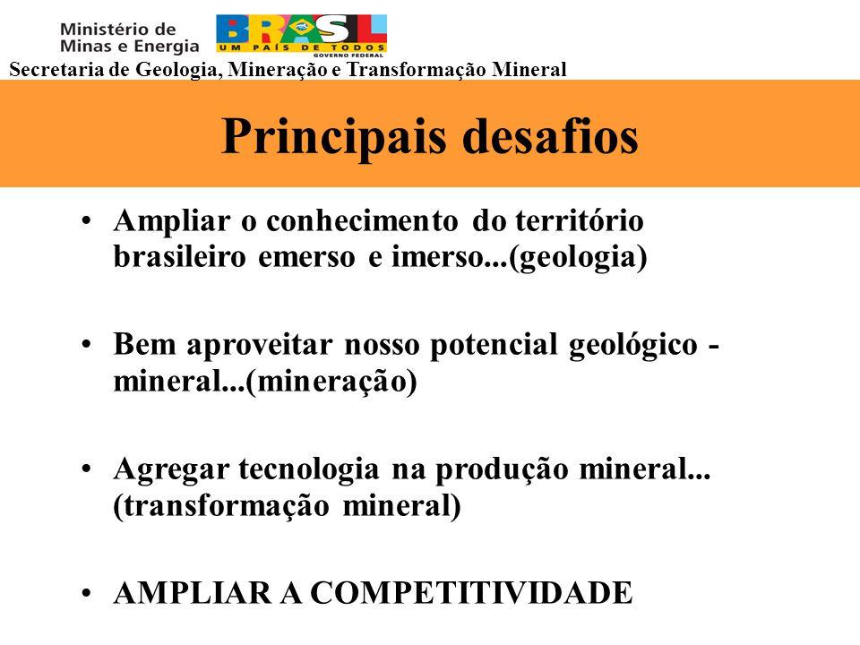 Principais desafios Ampliar o conhecimento do território brasileiro emerso e imerso...(geologia) Bem aproveitar nosso potencial geológico - mineral...