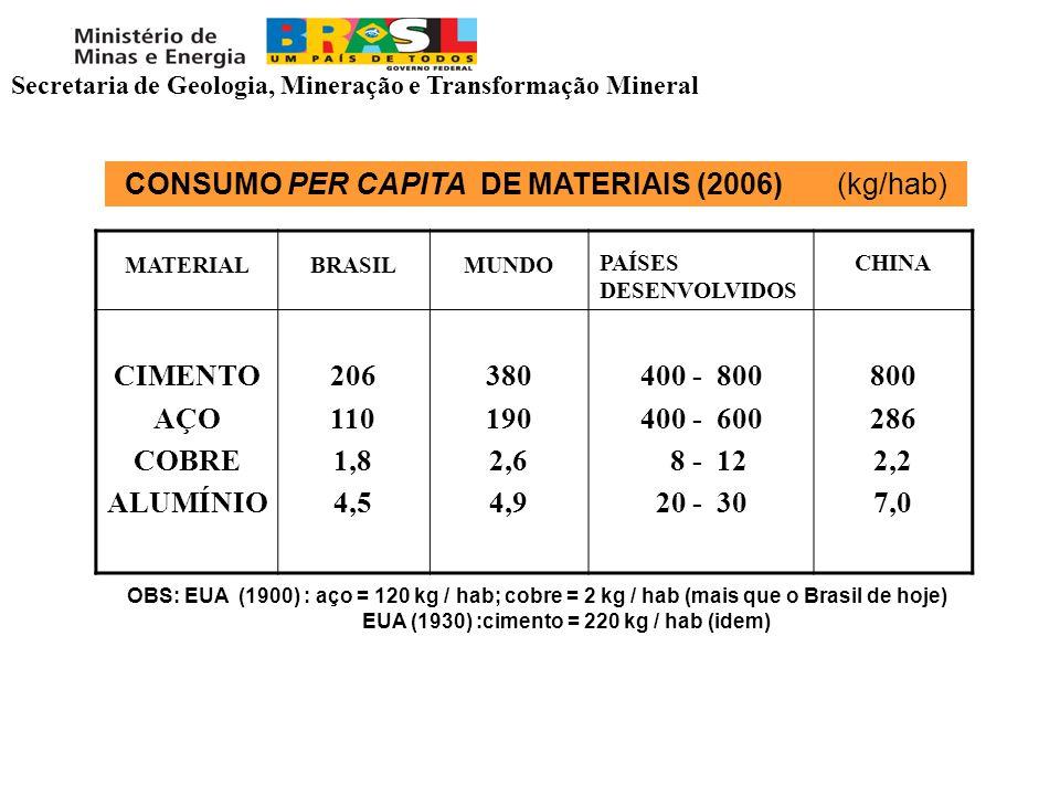 CONSUMO PER CAPITA DE MATERIAIS (2006) (kg/hab) MATERIALBRASILMUNDO PAÍSES DESENVOLVIDOS CHINA CIMENTO AÇO COBRE ALUMÍNIO 206 110 1,8 4,5 380 190 2,6