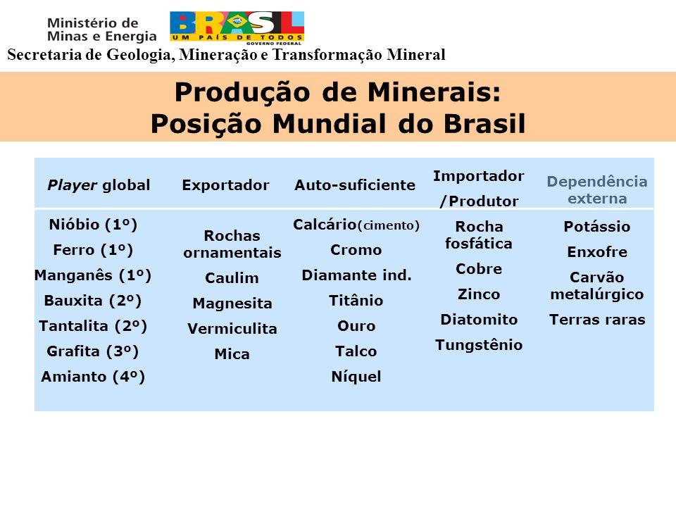 Produção de Minerais: Posição Mundial do Brasil Dependência externa Nióbio (1º) Ferro (1º) Manganês (1º) Bauxita (2º) Tantalita (2º) Grafita (3º) Amia