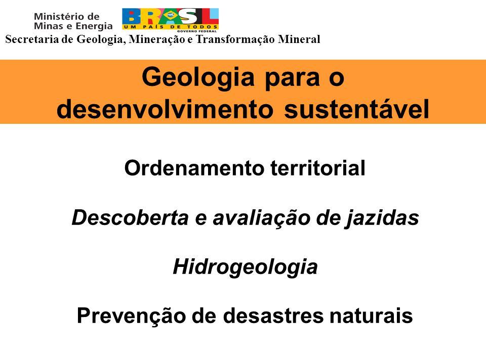 Geologia para o desenvolvimento sustentável Ordenamento territorial Descoberta e avaliação de jazidas Hidrogeologia Prevenção de desastres naturais Se