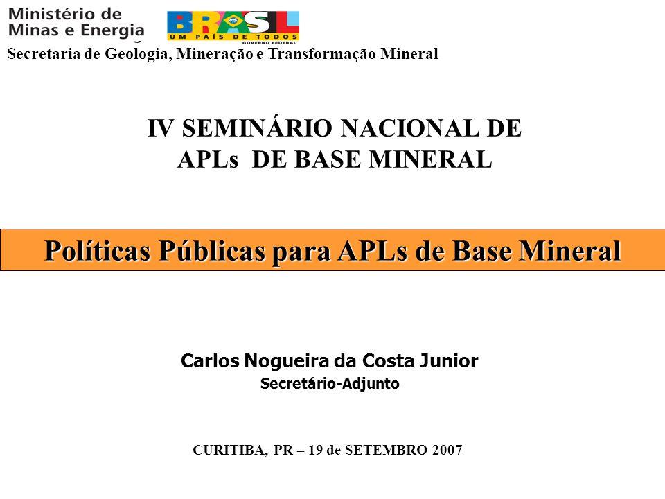 Secretaria de Geologia, Mineração e Transformação Mineral CURITIBA, PR – 19 de SETEMBRO 2007 IV SEMINÁRIO NACIONAL DE APLs DE BASE MINERAL Carlos Nogu