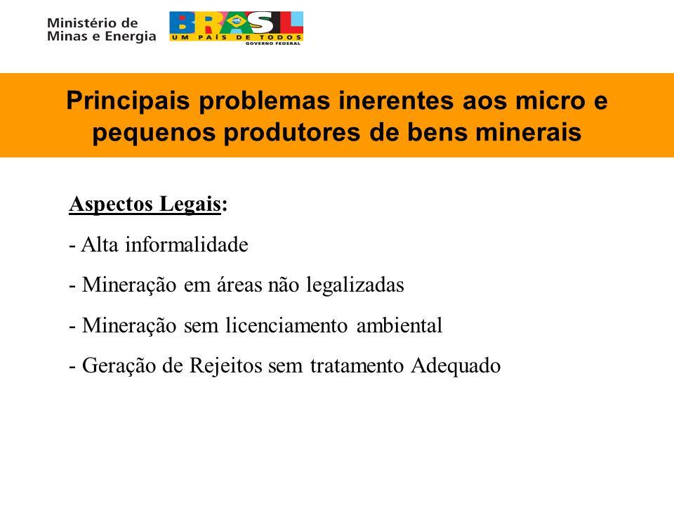 Principais problemas inerentes aos micro e pequenos produtores de bens minerais Aspectos Legais: - - Alta informalidade - - Mineração em áreas não leg