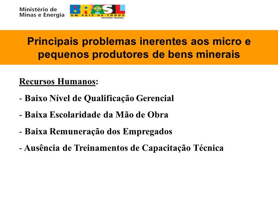 Principais problemas inerentes aos micro e pequenos produtores de bens minerais Recursos Humanos: - - Baixo Nível de Qualificação Gerencial - - Baixa