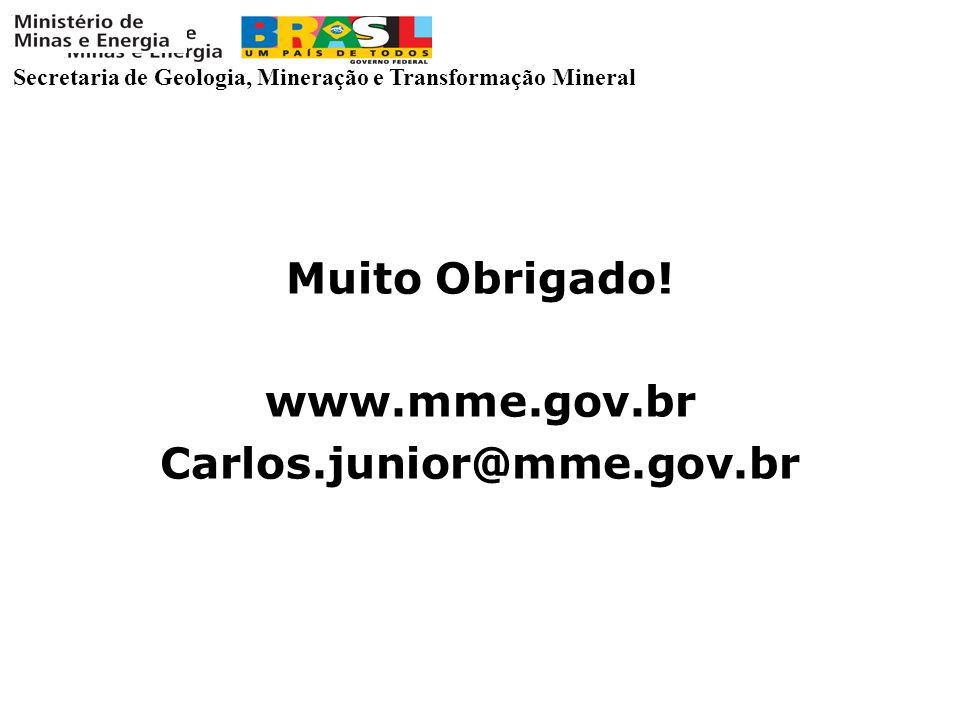 Secretaria de Geologia, Mineração e Transformação Mineral Muito Obrigado! www.mme.gov.br Carlos.junior@mme.gov.br