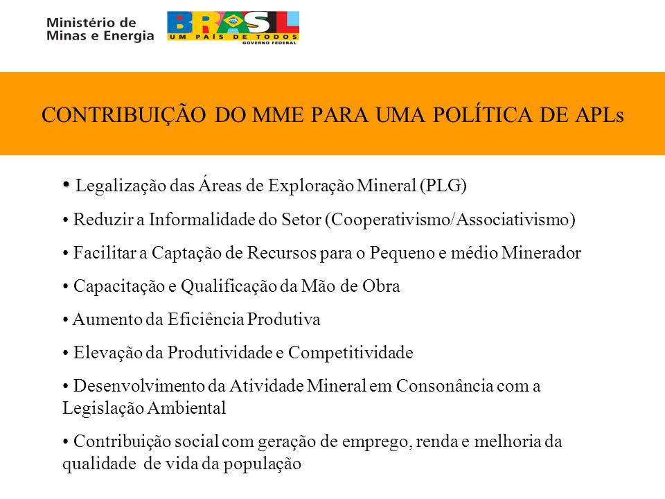 CONTRIBUIÇÃO DO MME PARA UMA POLÍTICA DE APLs Legalização das Áreas de Exploração Mineral (PLG) Reduzir a Informalidade do Setor (Cooperativismo/Assoc