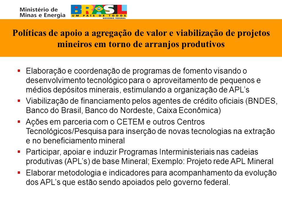   Elaboração e coordenação de programas de fomento visando o desenvolvimento tecnológico para o aproveitamento de pequenos e médios depósitos minera