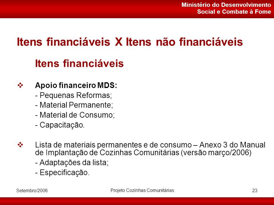 Ministério do Desenvolvimento Social e Combate à Fome Setembro/2006 Projeto Cozinhas Comunitárias 23 Itens financiáveis X Itens não financiáveis Itens financiáveis  Apoio financeiro MDS: - Pequenas Reformas; - Material Permanente; - Material de Consumo; - Capacitação.