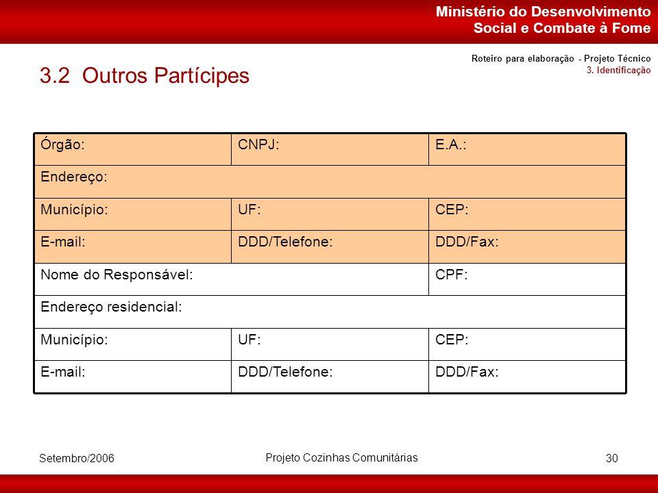 Ministério do Desenvolvimento Social e Combate à Fome Setembro/2006 Projeto Cozinhas Comunitárias 30 3.2 Outros Partícipes Endereço residencial: CEP:UF:Município: DDD/Fax:DDD/Telefone:E-mail: CPF:Nome do Responsável: DDD/Fax:DDD/Telefone:E-mail: CEP:UF:Município: Endereço: E.A.:CNPJ:Órgão: Roteiro para elaboração - Projeto Técnico 3.