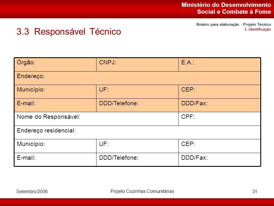 Ministério do Desenvolvimento Social e Combate à Fome Setembro/2006 Projeto Cozinhas Comunitárias 31 3.3 Responsável Técnico Endereço residencial: CEP:UF:Município: DDD/Fax:DDD/Telefone:E-mail: CPF:Nome do Responsável: DDD/Fax:DDD/Telefone:E-mail: CEP:UF:Município: Endereço: E.A.:CNPJ:Órgão: Roteiro para elaboração - Projeto Técnico 3.
