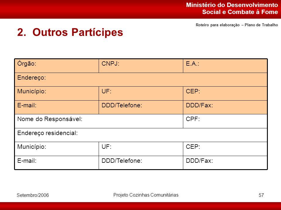 Ministério do Desenvolvimento Social e Combate à Fome Setembro/2006 Projeto Cozinhas Comunitárias 57 2.