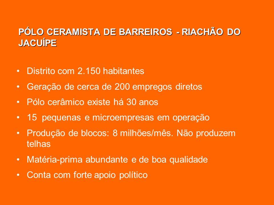 PÓLO CERAMISTA DE BARREIROS - RIACHÃO DO JACUÍPE Distrito com 2.150 habitantes Geração de cerca de 200 empregos diretos Pólo cerâmico existe há 30 ano