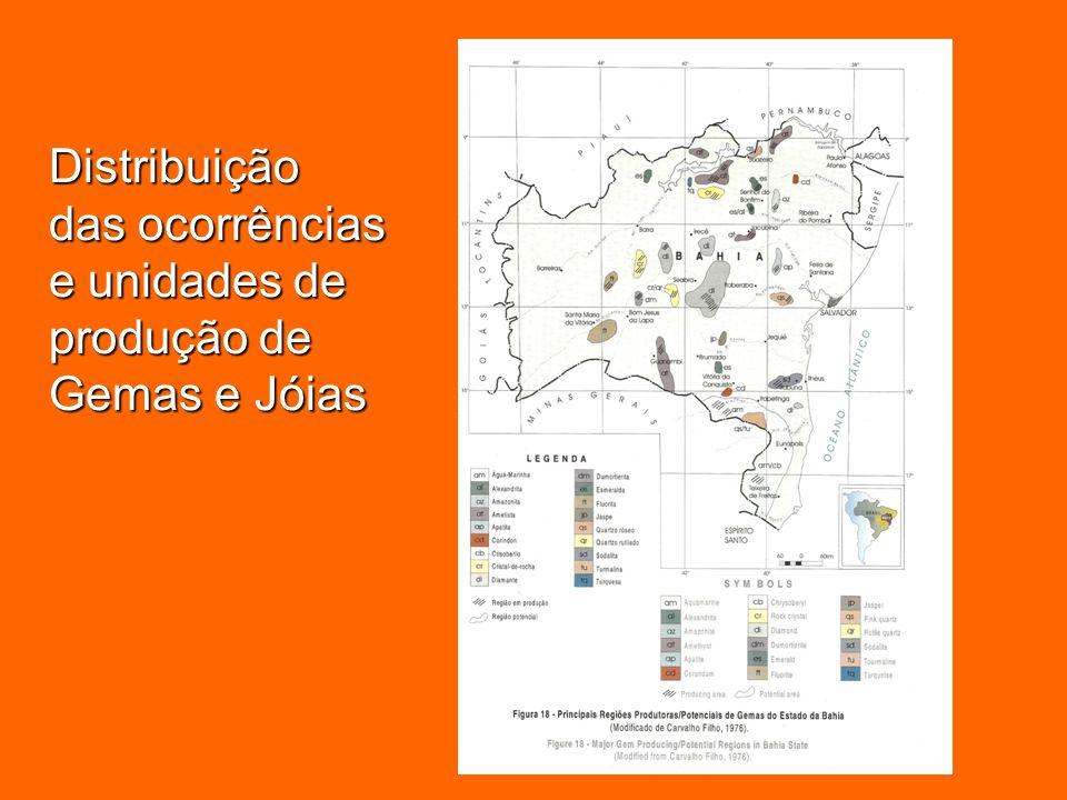 Distribuição das ocorrências e unidades de produção de Gemas e Jóias
